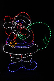 Cheerful red and white LED Santa with a green bag of toys