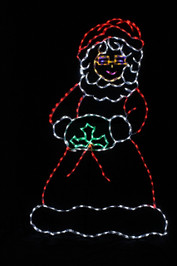 Red and white LED light display of Mrs. Claus outdoor decoration with a touch of green holly