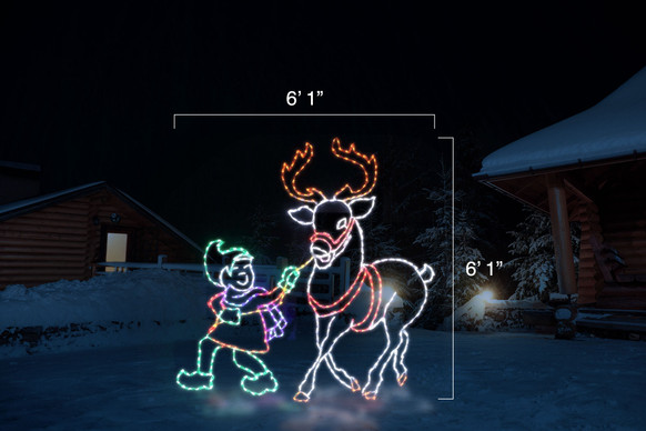 """Green LED elf with a red coat and purple scarf guiding a white reindeer with red antlers with dimensions 6'1"""" by 6'1"""""""