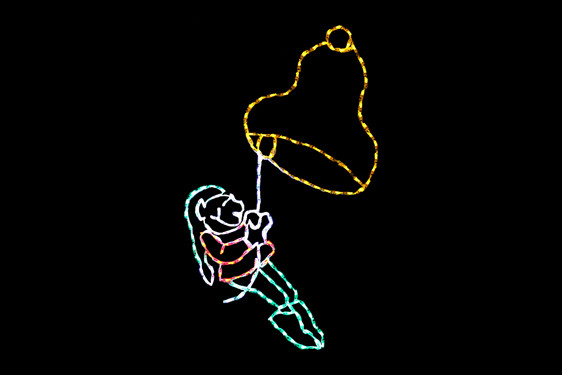 Animated LED display of a green and red elf swinging from a yellow bell