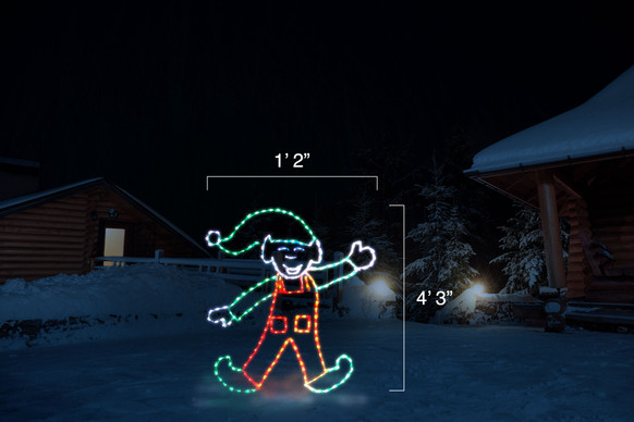 "LED light animation of an elf wearing green and red doing a cartwheel with dimensions 1'2"" by 4'3"""