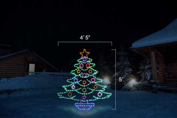 "Large decorated  green LED light Christmas tree with red, white, and blue ornaments and a star on top with dimensions 4'5"" by 5'"