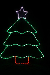 LED light display of a green Christmas tree with a purple star and red tree trunk