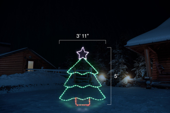 "LED light display of a green Christmas tree with a purple star and red tree trunk with dimensions 3'11"" by 5'"