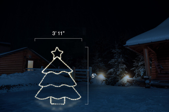 """Warm white LED Christmas tree with a star on top with dimensions standing at 3' 11"""" by 5'"""