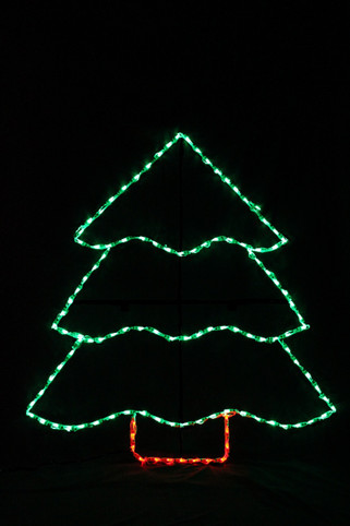 Large green LED light display of a Christmas tree with a red trunk
