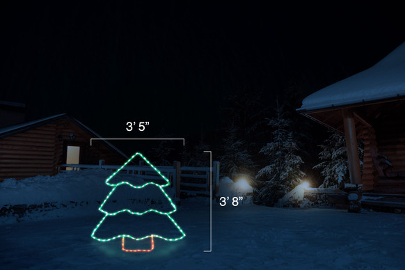 """Small green LED display of Christmas tree with a red tree trunk with dimensions 3'5"""" by 3'8"""""""