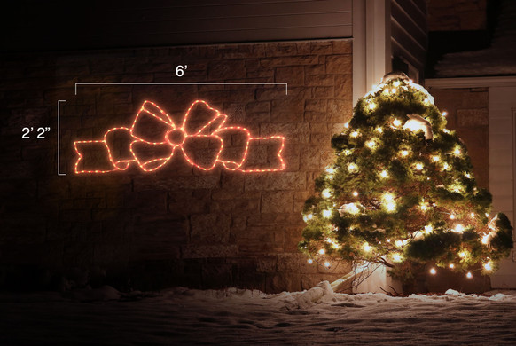 LED light display of a beautiful flowing red bow with dimensions 6' by 2'2""