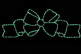 LED light display of a beautiful flowing green bow