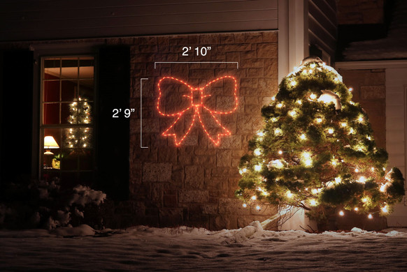 """LED light display of red bow standing 2'10"""" by 2'9"""""""