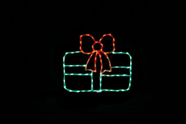 Green LED Christmas package with a red ribbon
