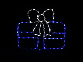 LED Light display of a blue Christmas package with a white ribbon