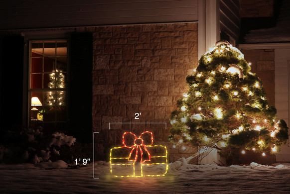 LED light display of a yellow Christmas package with a red ribbon with dimensions 2' by 1'9""