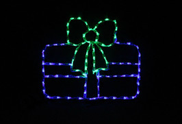 Beautiful blue LED Christmas package with a green bow