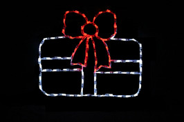 White LED Christmas package with a pretty red bow