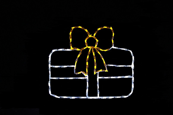 LED light display of a white Christmas package with a beautiful yellow bow
