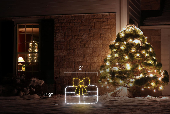 """LED light display of a white Christmas package with a beautiful yellow bow with dimensions 2' by 1'9"""""""