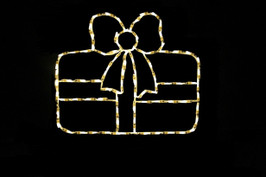 LED light display of a warm white Christmas package with a beautiful white bow