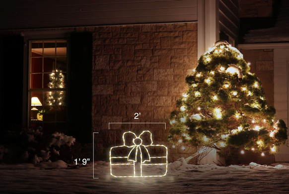 """LED light display of a warm white Christmas package with a beautiful white bow  with dimensions 2' by 1'9"""""""
