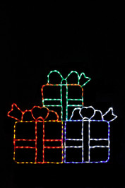 Three colorful LED Christmas packages stacked for display