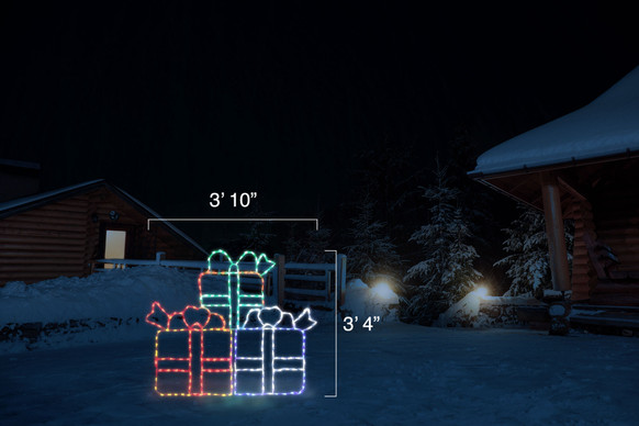 """Three colorful LED Christmas packages stacked for display with dimensions 3'10"""" by 3'4"""""""