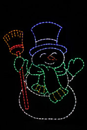Jolly LED snowman with a blue top hat, green scarf and red broom