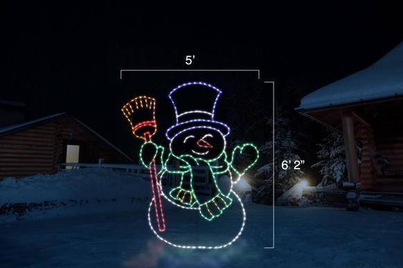 """Jolly LED snowman with a blue top hat, green scarf and red broom with dimensions 5' by 6'2"""""""