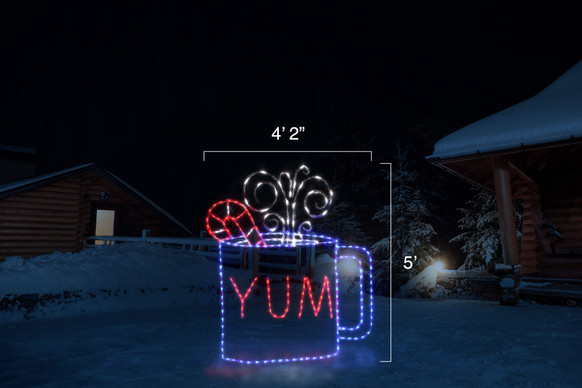 "Animated red, blue and white LED light display of a cup of cocoa with candy cane garnish in a cup with ""YUM"" written on it with dimensions 4'2"" by 5"""