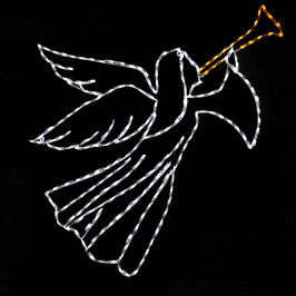 LED light display of a white angel facing right blowing a yellow horn