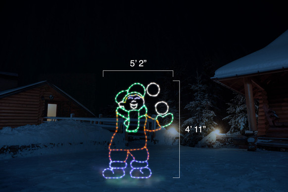 """Animated LED light display of a boy tossing a snowball with dimensions 5'2"""" by 4'11"""""""