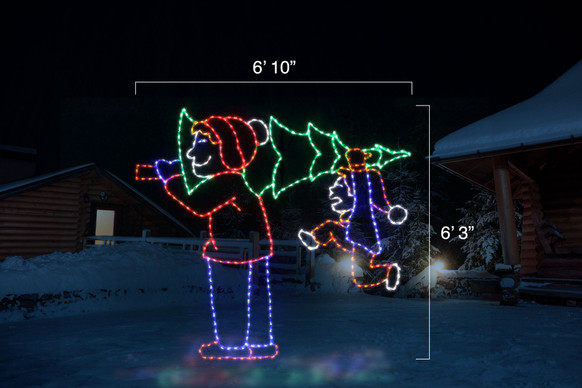 "Animated LED light display of a parent and child carrying a Christmas tree with dimensions 6'10"" by 6'3"""