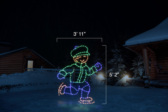 """LED light display of a blue and green boy ice skating with dimensions 3'11"""" by 5'2"""""""