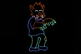 LED light display of a red, blue and green werewolf