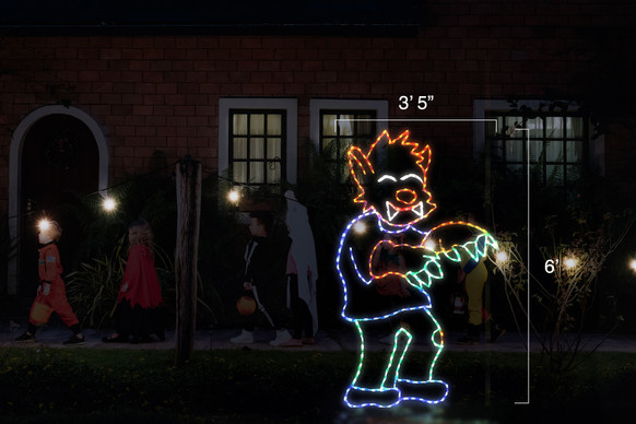 """LED light display of a red, blue and green werewolf with dimensions 3'5"""" by 6'"""