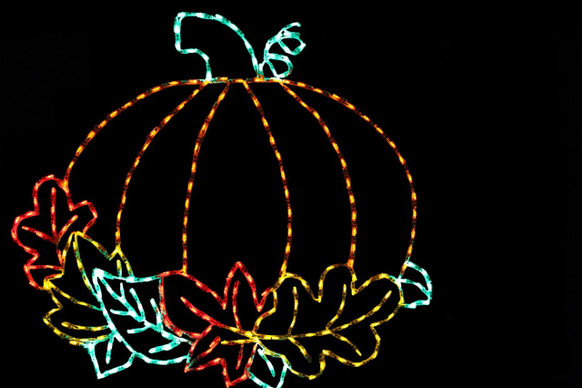 LED light display of a beautiful orange pumpkin with a green stem surrounded by colorful leaves