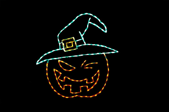 Orange LED jack-o-lantern winking wearing a green witches hat