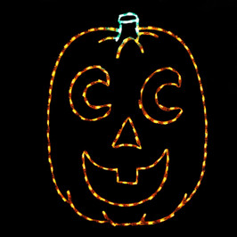 Happy orange LED jack-o-lantern with crescent eyes and a green stem
