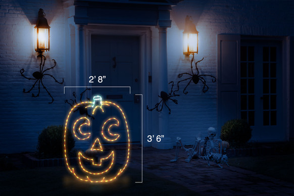 """Happy orange LED jack-o-lantern with crescent eyes and a green stem with dimensions 2'8"""" by 3'6"""""""