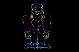 LED light display of a green, purple and blue Frankenstein with red scares.
