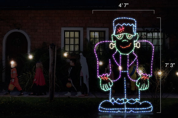 """LED light display of a green, purple and blue Frankenstein with red scares with dimensions 4'7"""" by 7'3"""""""