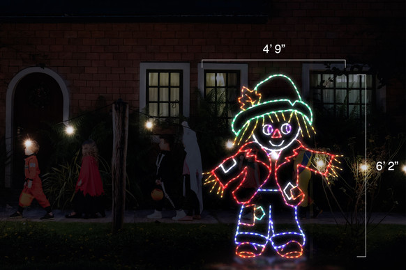 """Green, red and blue LED light display of a scarecrow with dimensions 4'9"""" by 6'2"""""""
