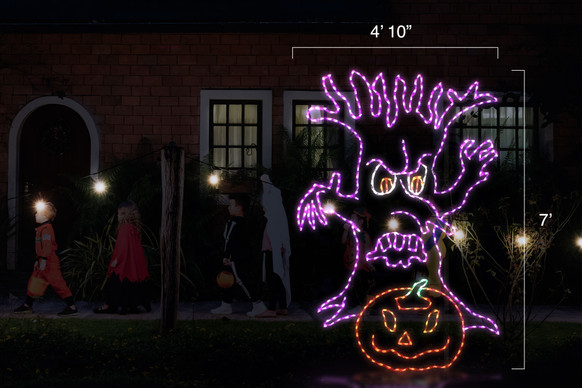 "Eerie purple tree LED light display with an orange jack-o-lantern with dimensions 4'10"" by 7'"