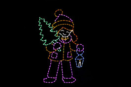 LED light display of a purple and yellow girl carrying a blue lantern and green Christmas tree