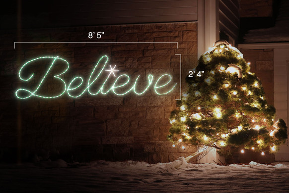 """Green LED lights sign saying """"Believe"""" with dimensions 8'5 by 2'4"""