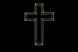 Large cross made of white and yellow LED lights