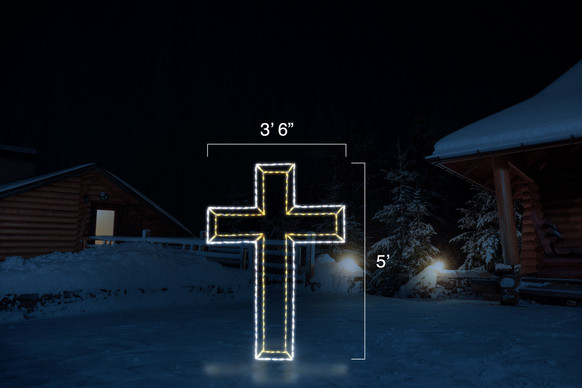 """Large cross made of white and yellow LED lights with dimension 3'6"""" by 5'"""
