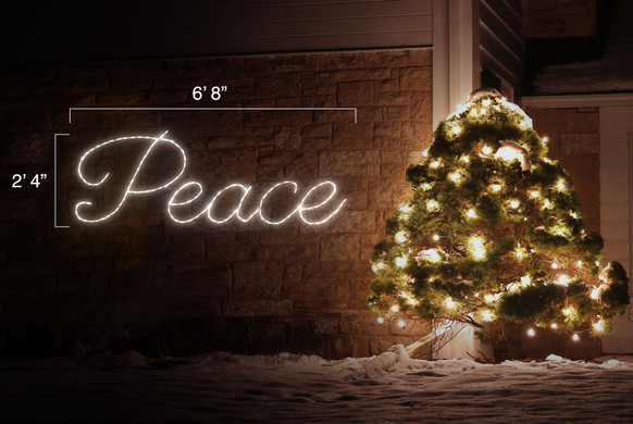 """White LED light display of the word peace with dimensions 6'8"""" by 2'4"""""""