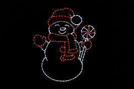 LED white snowman with a red hat, gloves and scarf holding a white and red peppermint candy