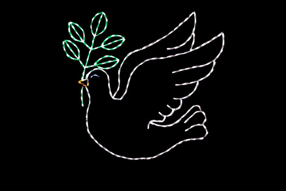 LED white dove holding a green plant in its beak