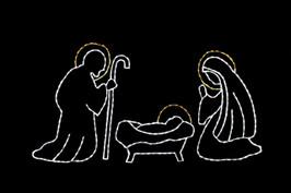 White and Yellow LED holy family nativity scene